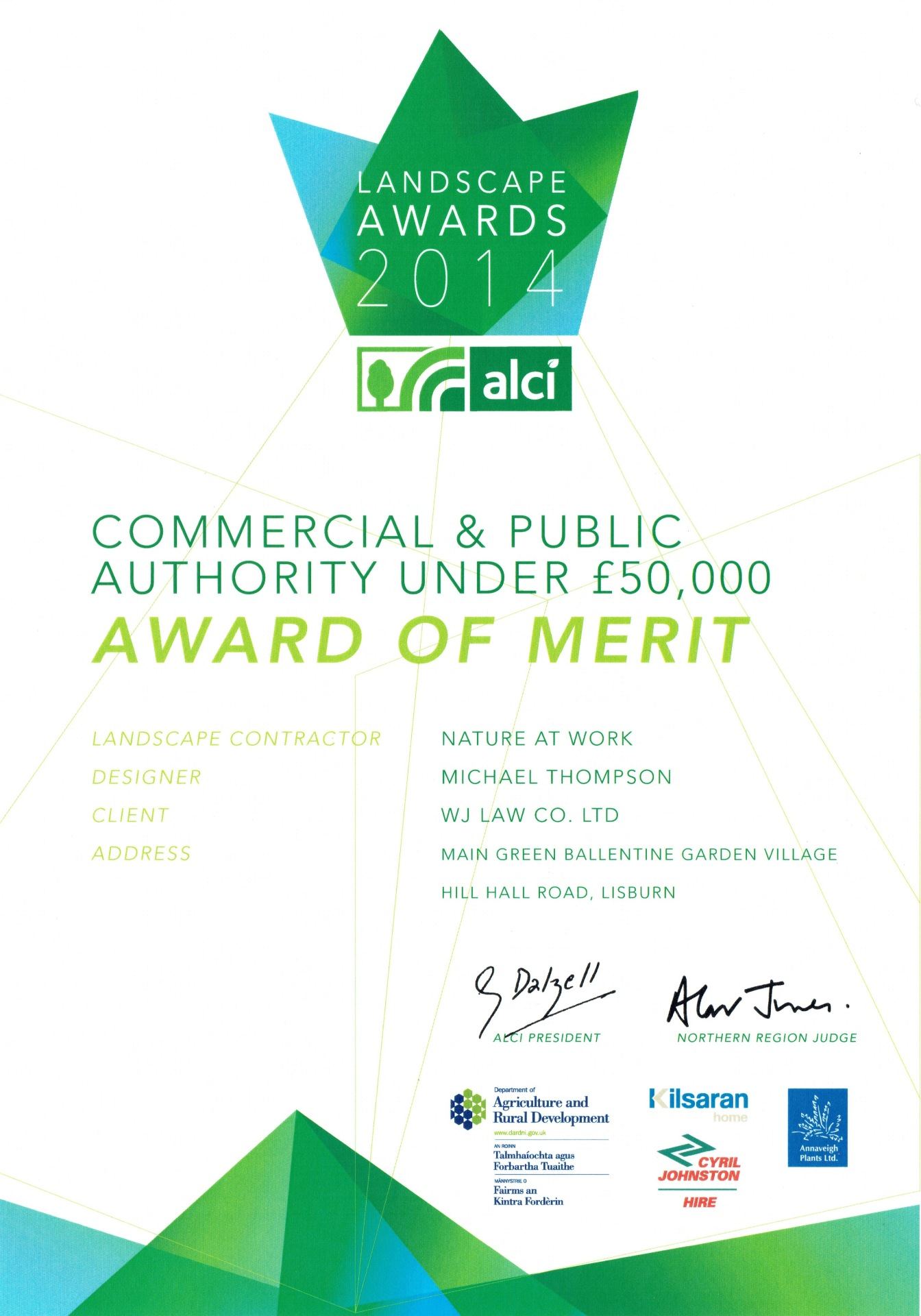 ALCI 2014 Awards Commercial & Public Authority Under £50,000