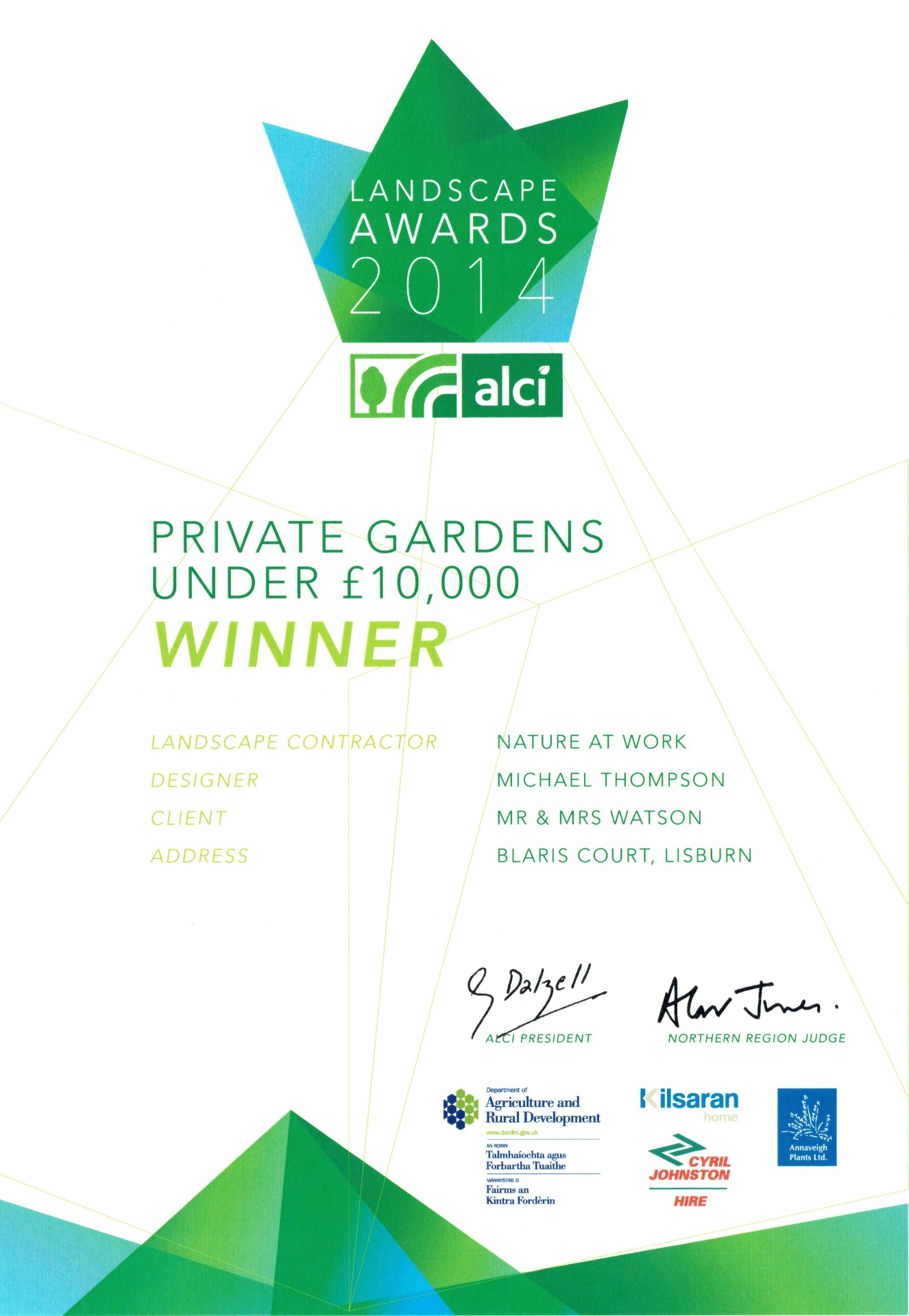 ALCI Landscape Awards 2014 Private Gardens Under £10,000