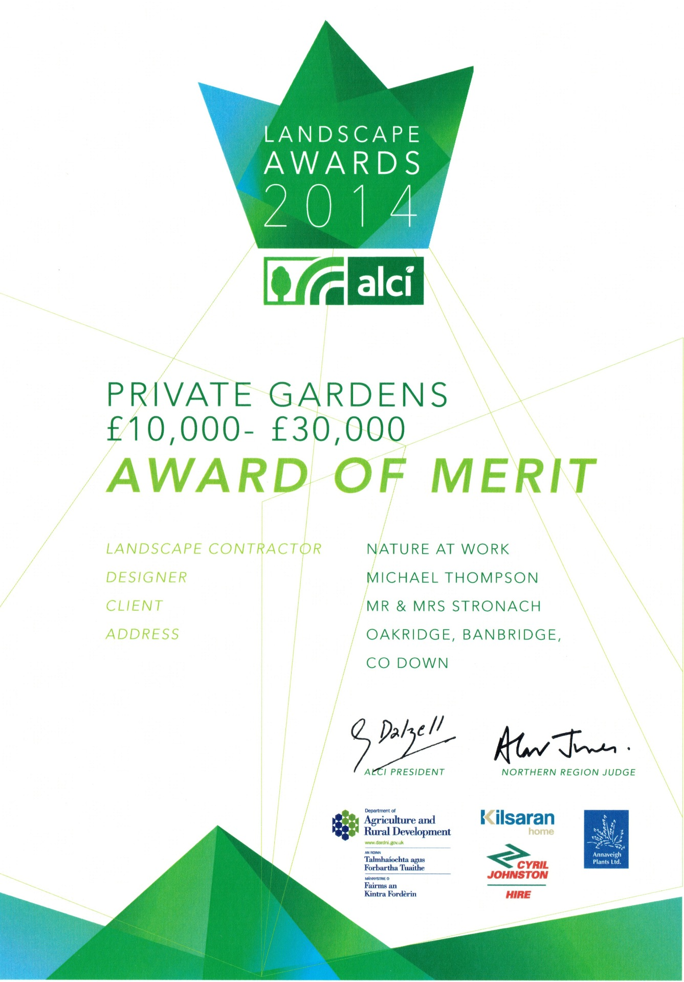 ALCI Landscape Awards 2014 Private Gardens £10,000- £30,000