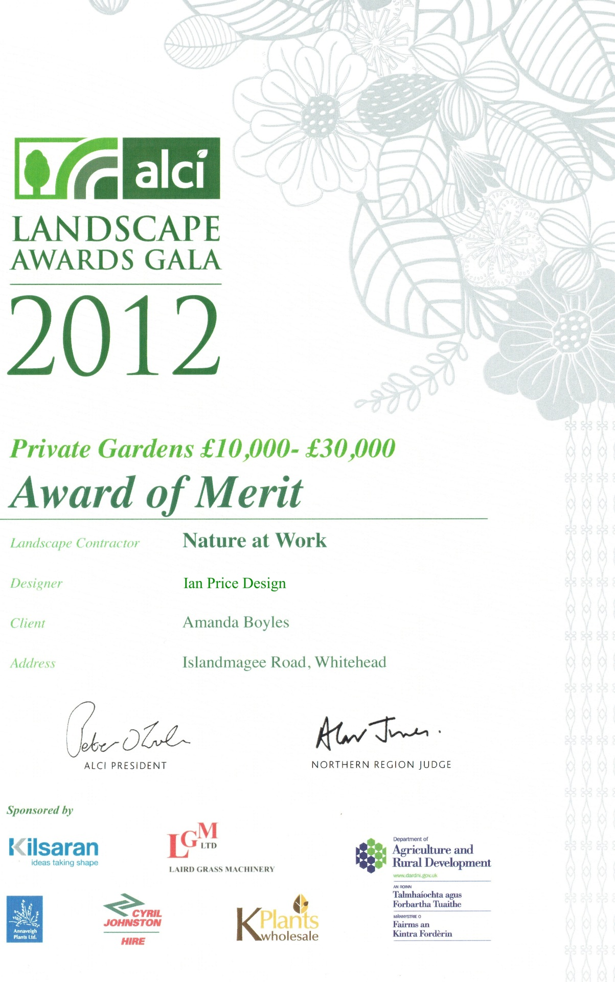 ALCI Landscape Awards 2012 Private Gardens £10,000- £30,000