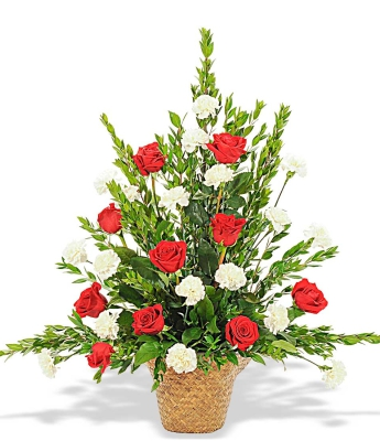 Basket red roses white carnations
