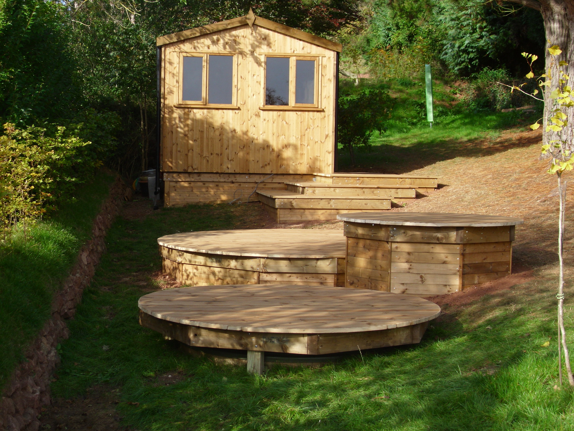 With decking to the front.