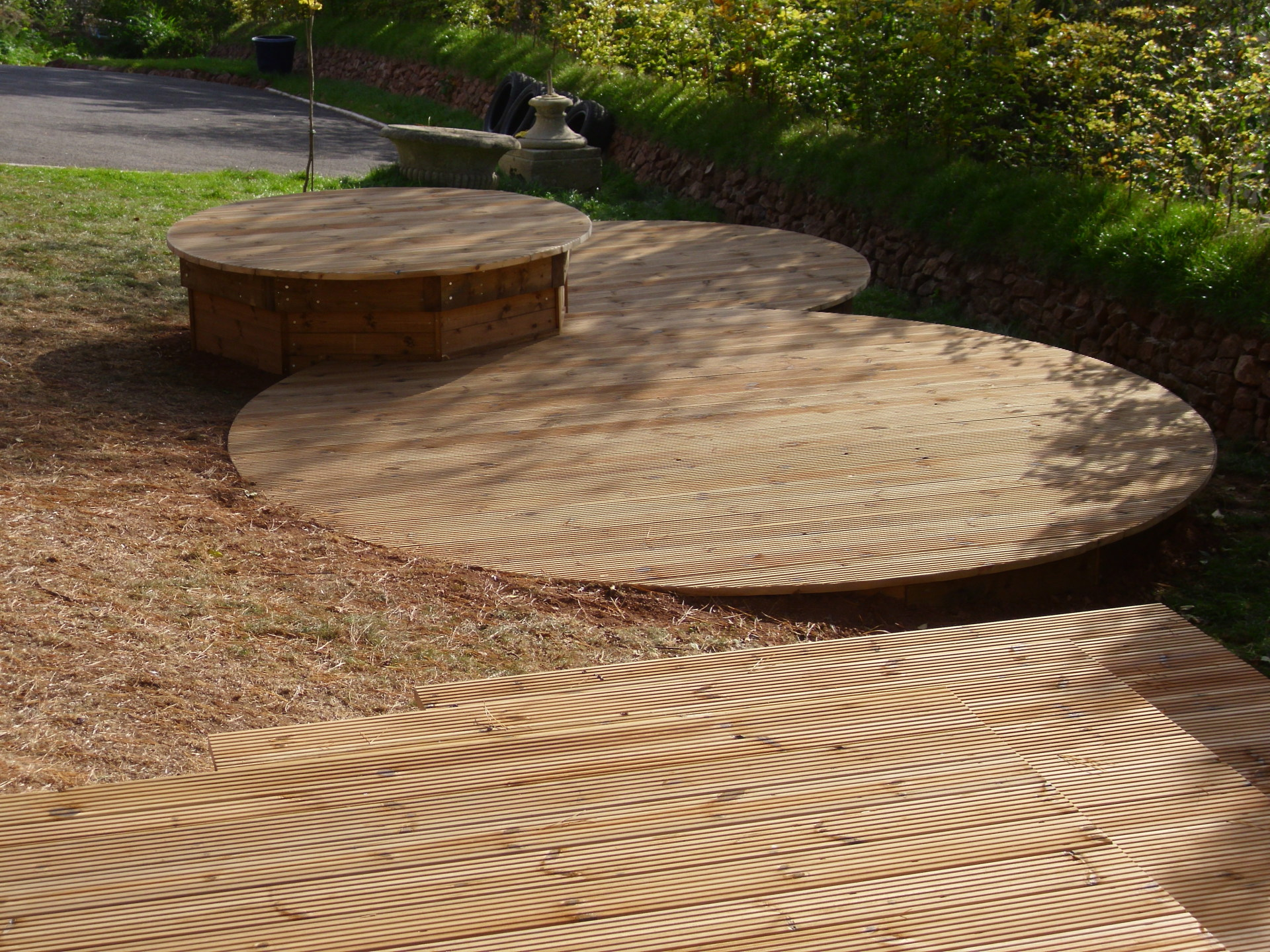 Decking with round profile.