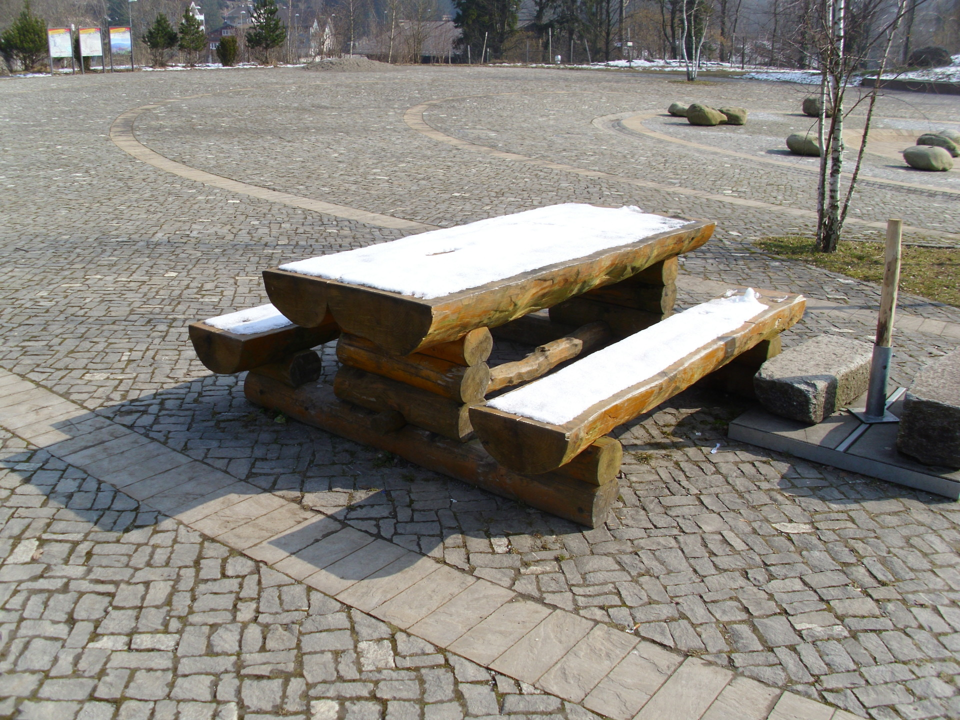 Rustic picnic bench.