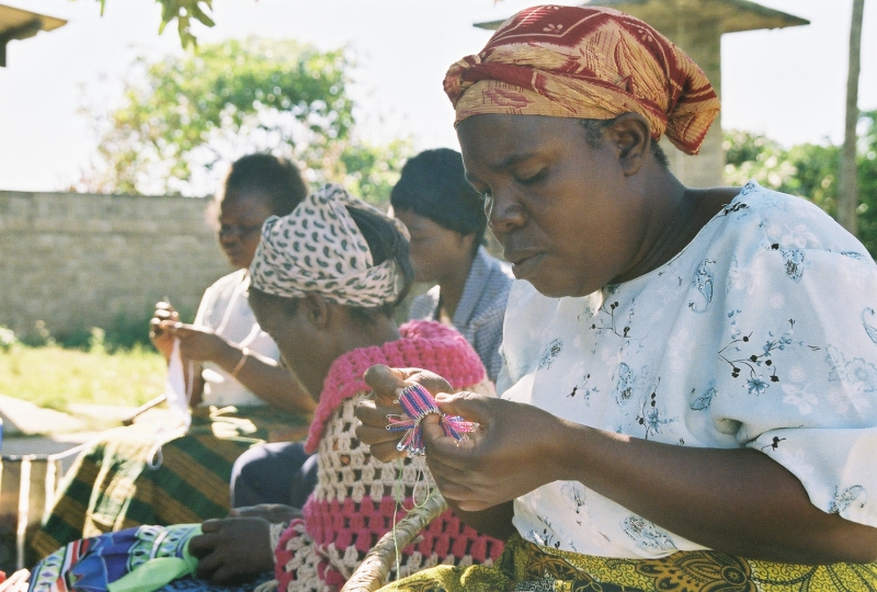 African grandmother knitting