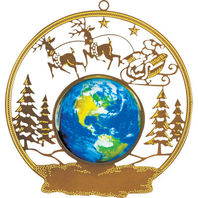 Gold Metal Holiday Scene Ornament
