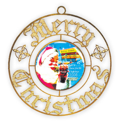 "Gold Metal ""Merry Christmas"" Ornament"