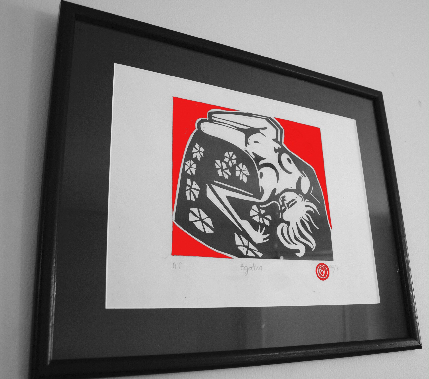 Gallery: Agatha Linocut print