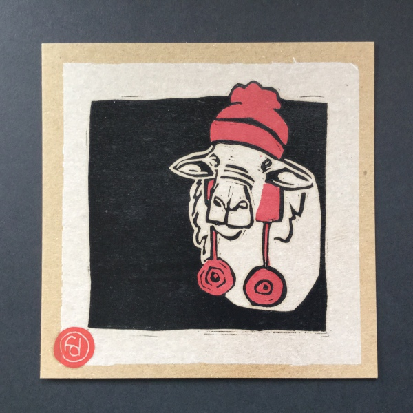 Original linocut art: Sheep