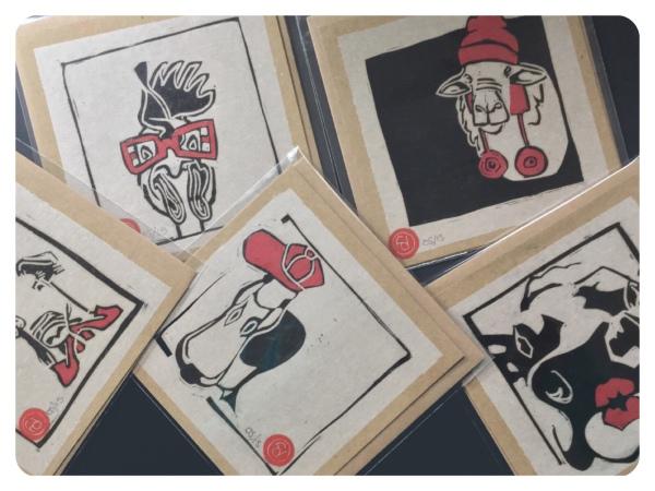 Original Linocut prints: Cold cut Crew