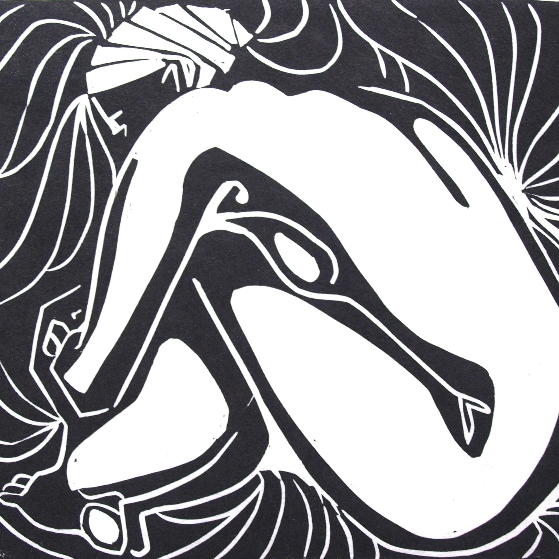 Original Linocut: Seated nude hugging knees