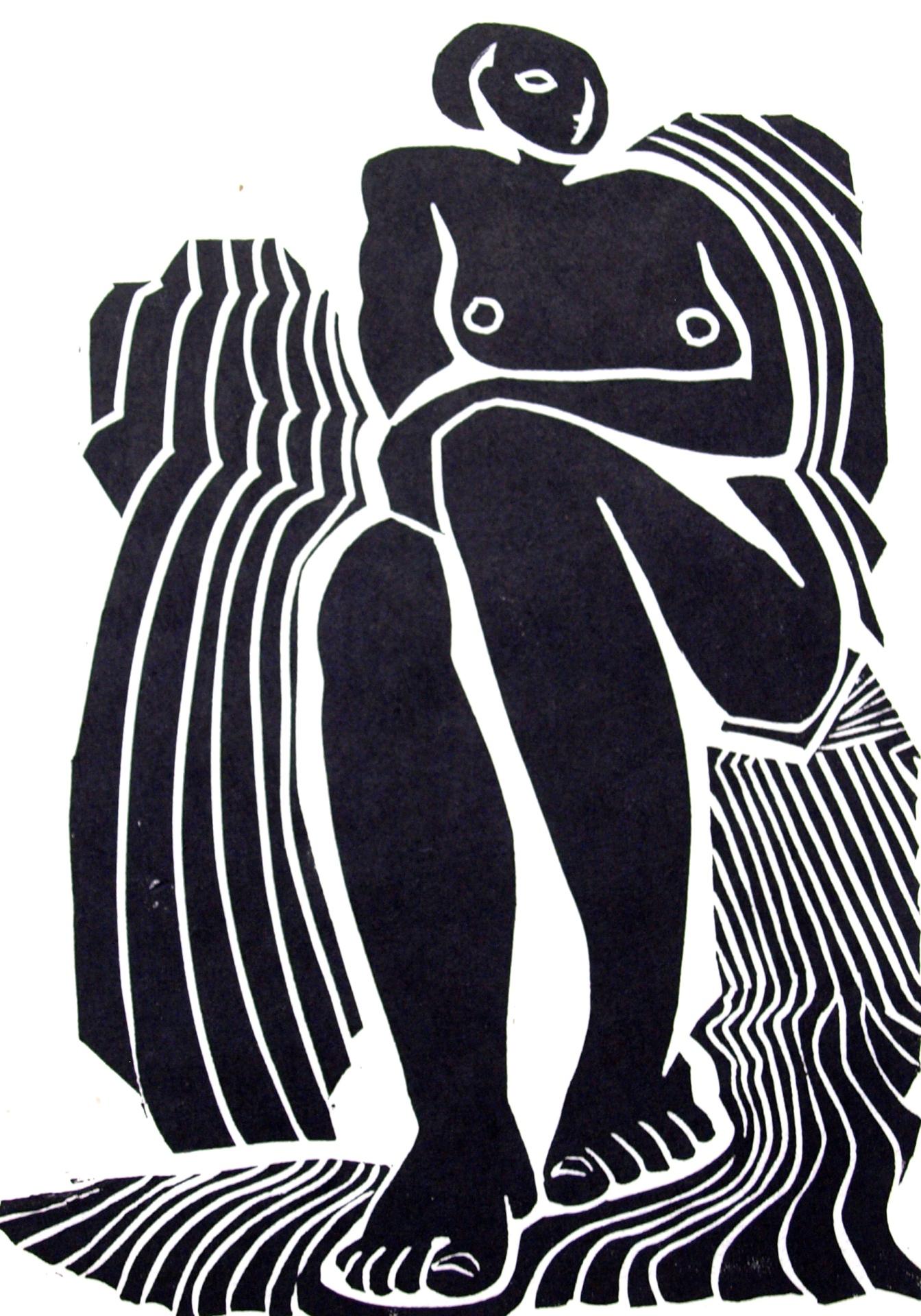 Original Linocut: Seated nude on striped blanket