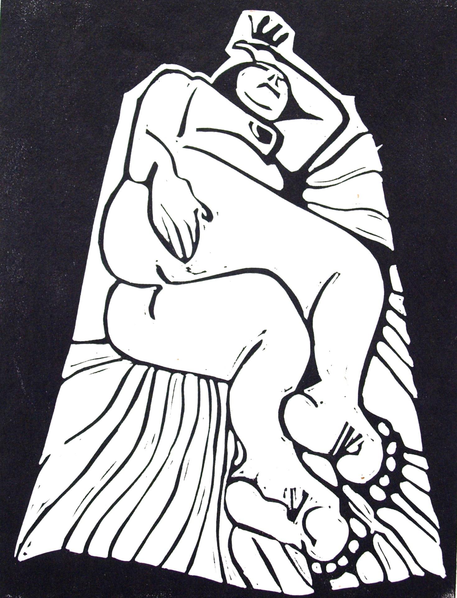 Original Linocut: reclining nude on rug