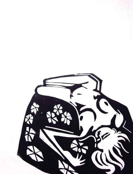 Original Linocut: reclining nude on floral blanket