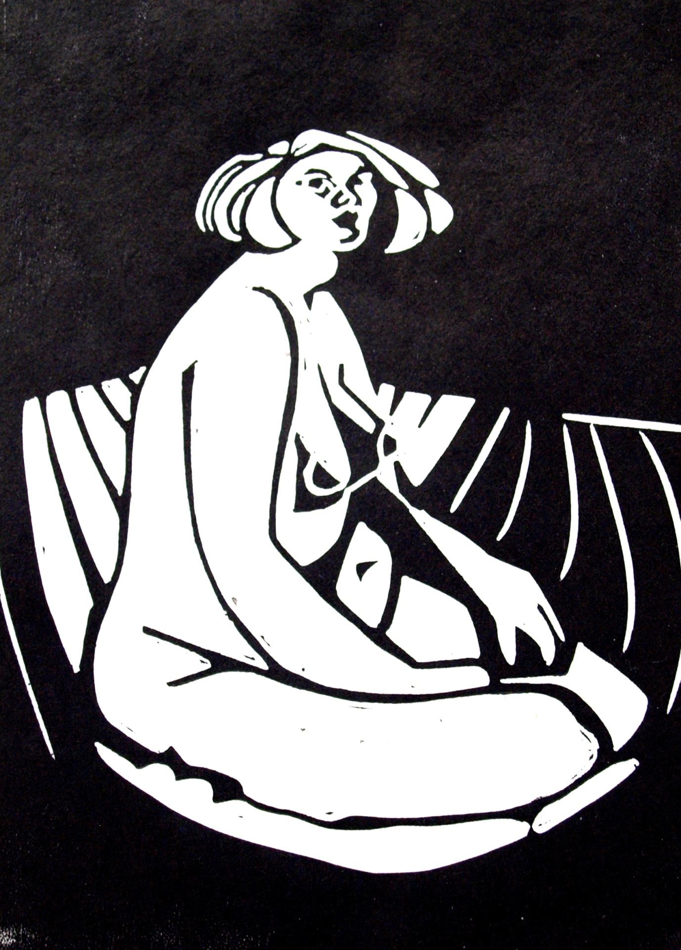 Original Linocut: seated nude. frontal