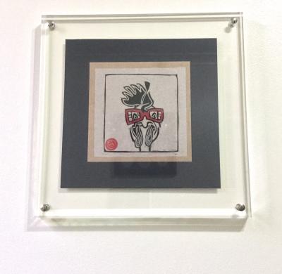 Original Linocut Art: Chicken from Cold Cuts