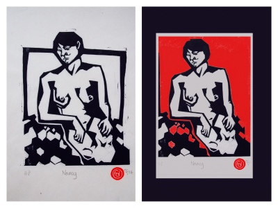 Nancy: Before and After (Original Linocut work by EffduglyArt)