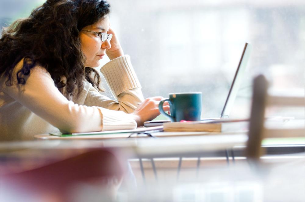 Image of lady studying