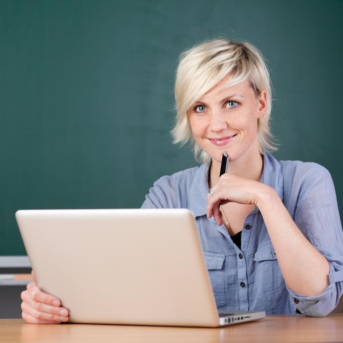 Lady working laptop image