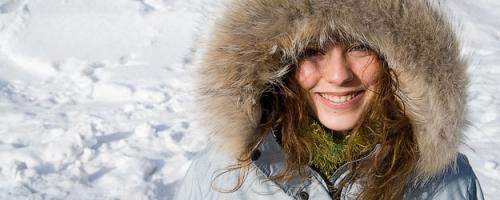 Image of girl in parka in snow