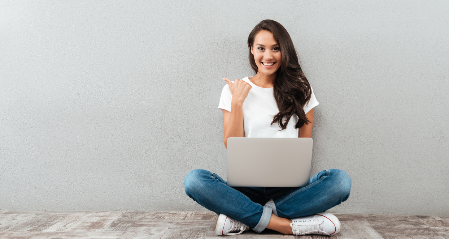 Image of girl sitting with laptop