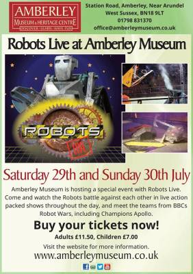 Saturday 29th and Sunday 30th July - Robotslive comes to Amberley! Spaces still available for workshops.