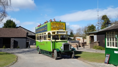 Ride one of the historic buses to explore the Museum