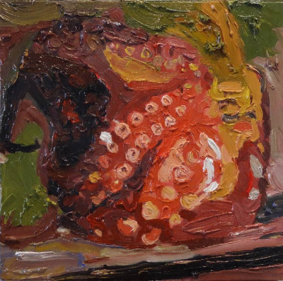 Packaged Octopus, Oil on Canvas, 34 x 34cm, $650