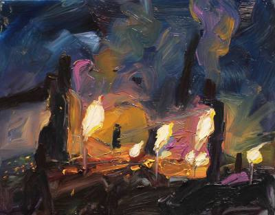 Port Kembla Night Sky, Oil on Canvas, 35 x 45cm, $1.190