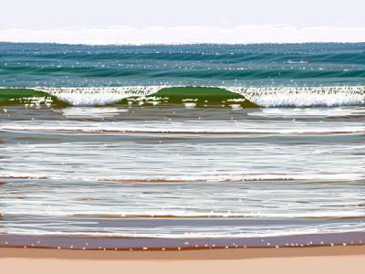The Wave 55 x 41cm, iPad Art, Framed, $450
