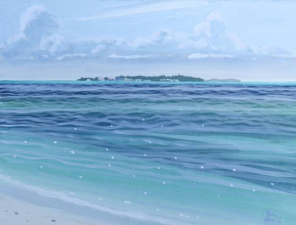 Maldivian Island No.3 56 x 47cm, Gouache,