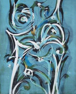 Blue III, Monotype, Plate, 76 x 56cm, framed, $2.200