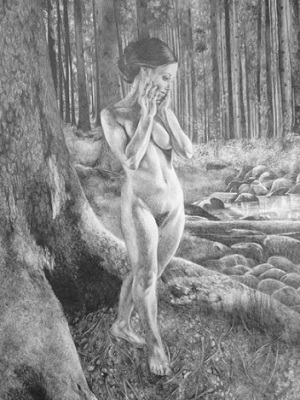 The awakening, 2015, Drawing, Pencil on paper, 29 x 42cm, framed in chocolate wood, $1.100