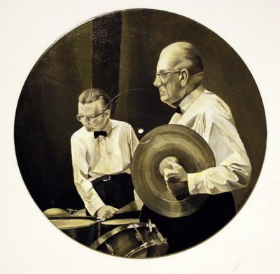 The percussion boys, painting on a vinyl record, Sydney Symphony Orchestra ca. 1965, 12 inch, $650