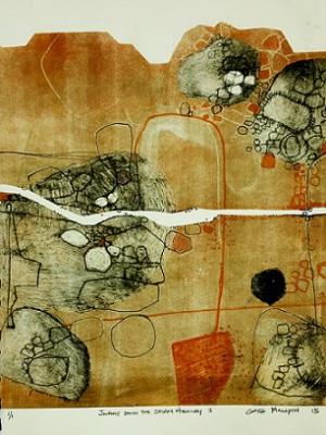 Journey down the Stuart Highway I, 2015, Monoprint Etching on Paper,  28 x 38cm, framed, $825