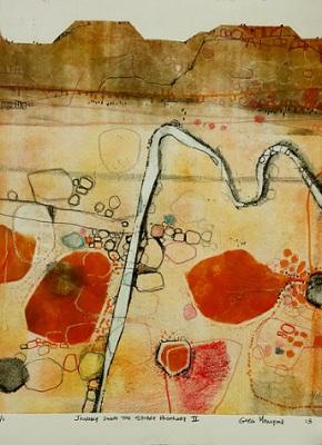 Journey down the Stuart Highway II, 2015, Monoprint Etching on Paper,  28 x 38cm, framed, $825