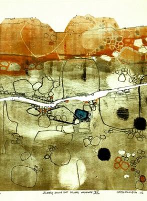 Journey down the Stuart Highway VII, 2015, Monoprint Etching on Paper,  28 x 38cm, framed, $825