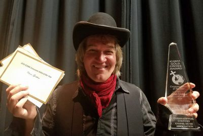 Chris Golden accepting the 2016 'Crossover Artist of the Year at the ICMA Award Show in West Plains, MO
