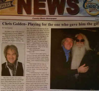 Chris Golden featured in LArrys Country Diner Magazine