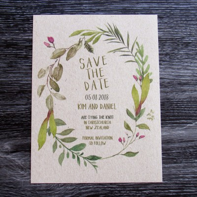 Leaf Wreath Save the Date