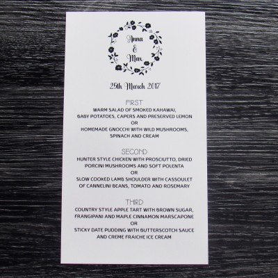 Black Rose Menu
