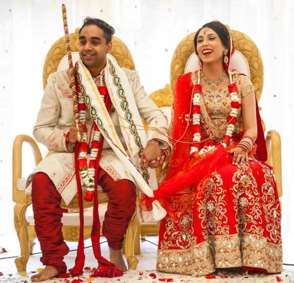 hindu couple at a wedding ceremony