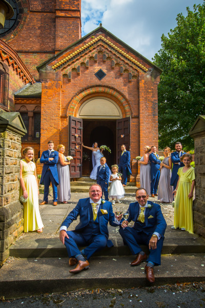 wedding party outside a church