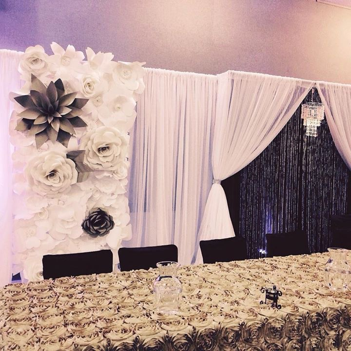 Custom backdrop with flowers