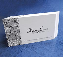 Professional, polished, one-colour business cards for Kasey Cane Design