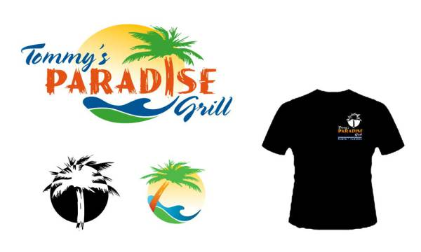 Tommys paradise grill logo applications designed by luis ramirez
