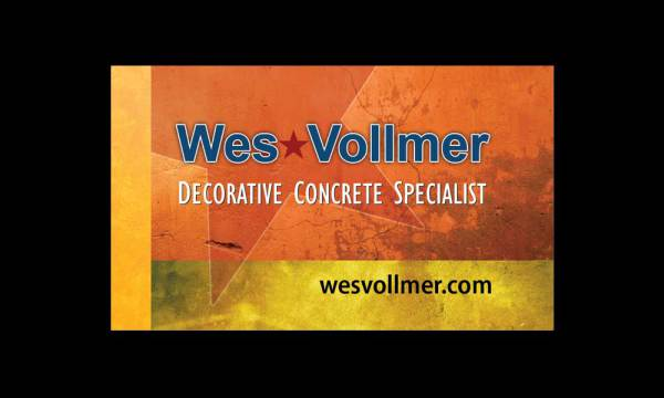 Wes Vollmer decorative concrete specialist logo designed by luis ramirez