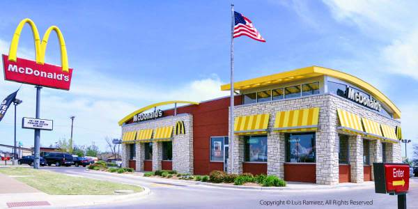 View of Mc Donalds Restaurant building in Altus, Oklahoma - by Luis Ramirez web print photography