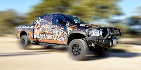 photo of dirtworks truck in blanco texas - by luis ramirez web print photography