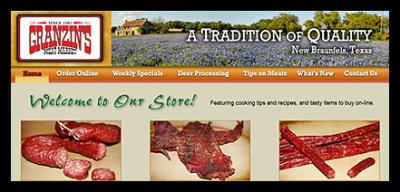 Granzin's Meat Market website screen shot
